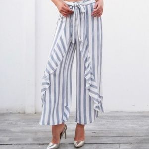 'Dinah' Wide Leg Striped Pants